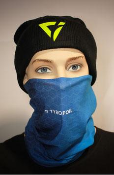 Mund-Nasen-Bedeckung - Farbverlauf mit Muster Blau Hellblau | TYROFOIL Logo