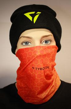 Mund-Nasen-Bedeckung - Farbverlauf mit Muster Orange Rot | TYROFOIL Logo