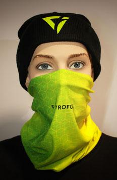 Mund-Nasen-Bedeckung - Farbverlauf mit Muster Gelb Grün | TYROFOIL Logo