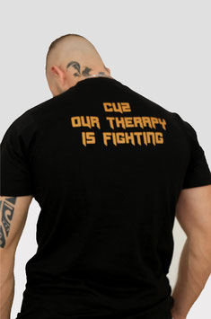 T-Shirt schwarz-bronze 'CUZ OUR THERAPY IS FIGHTING