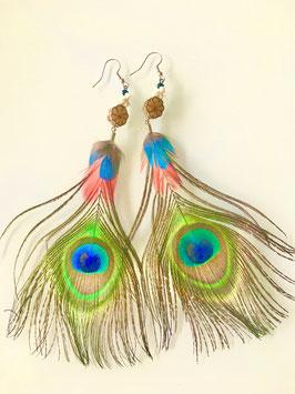 Federn Ohrringe (mit Holzschmuck aus Amazonas)