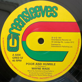 "WAYNE WADE - Poor & Humble / BUNNY LIE LIE - Babylonian (Greensleeves 12"")"
