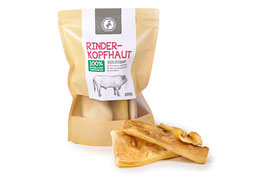 hundestrand, Hundesnack Rinderkopfhaut goldgelb, 250 gr.