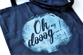 "hundestrand, Stofftasche ""Oh my dooog""-Grunch Look, 38 x 42 cm"