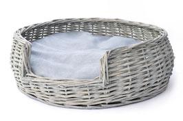Tommi, Hundekörbchen Weidenkorb rund, 50 x 50 x 17 cm, inkl. Innenkissen