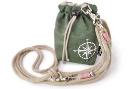 inke., Gassitasche Kompass khaki, inkl. Tragetau mit rosa Takelage