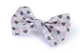 hundestrand, Hundefliege Herzchen Pink Grau