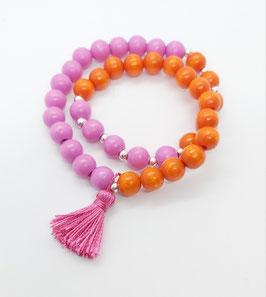 Wickelarmband aus Holzperlen Pink-Orange mit Quaste