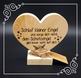 Zirben Herz auf Sockel: Schlaf kleiner Engel...