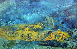 Postkarte Feder Gold Blau