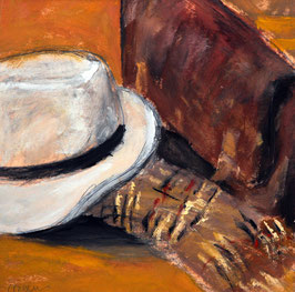 Postkarte Hut mit Tasche