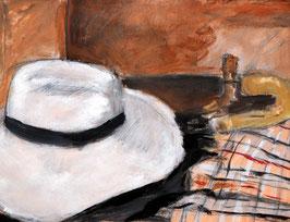 Postkarte Hut mit Schirm