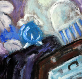 Postkarte Kunterbunt blau