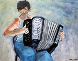 Postkarte Harmonika Mann