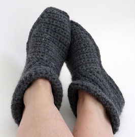 ALPAKA-Slipper-Booties |  dunkelgrau