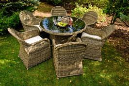 Ess - Set FORTE, Polyrattan, 6 Stühle, transparente-Tischplatte, Durchmesser 135 cm