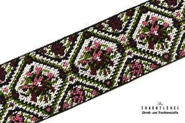 Gummiband für Trachtengürtel Weinrot - Altrosa - Grün I10023