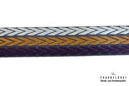 Jacquardband Grau-Ocker-Aubergine M40017