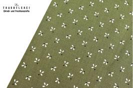 Trachtenstoff Baumwolle Erbsengrün-Schwarz-Weiß