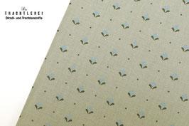 Trachtenstoff Baumwolle Greige- Hellblau-Oliv B10312