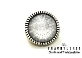 Trachtenknopf alt-silber mit Einlage Weiß G10079
