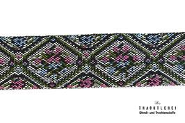 Jacquardband Gobelin Grün-Pink M40018