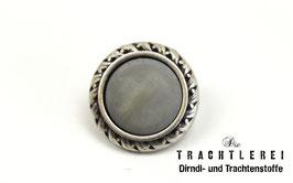 Trachtenknopf alt-silber Einlage Grau G10094
