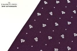 Trachtenstoff Baumwolle Aubergine  - Weiß B10194