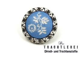 Trachtenknopf  altsilber Copenblau Blümchen G10096