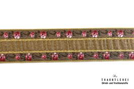 Trachtenborte Blumen Khaki M40010