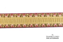 Trachtenborte Blumen Beigegold M40014