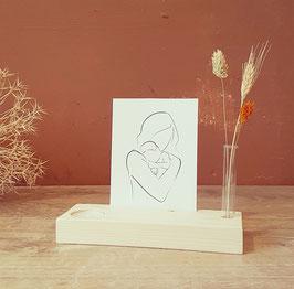 Kaartplankje of Gedenkplankje met kaarsje en droogbloemen