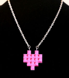 Miss Brixx Lego Heart Necklace. Available in Red, Pink, and Rainbow.