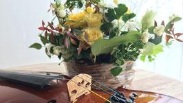 動画撮影/宣材写真撮影用 背景布 バイオリンと花