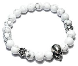 Skull (weißer Howlith)