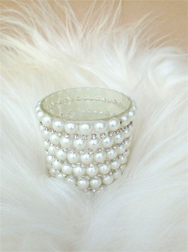 Perlen-Teelichtglas