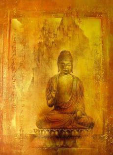 Kunstdruck Buddha, Spiegelfolie Gold, 60x80 cm