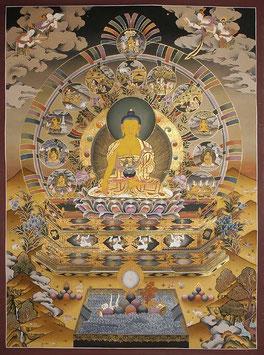 Thangka Shakyamuni Buddha, handgemalt!, gerahmt ca. 112 x 81 cm