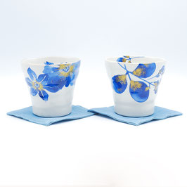 *CUP PAIR: INDIGO FLOWERS