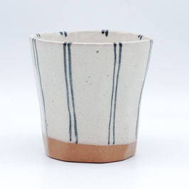 *CUP: WHITE w DOUBLE PIN STRIPES
