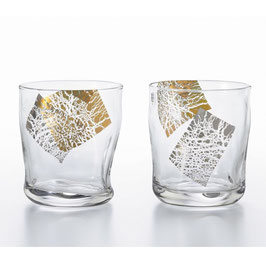 *GLASS TUMBLER PAIR with GOLD & PLATINUM : KIRARI