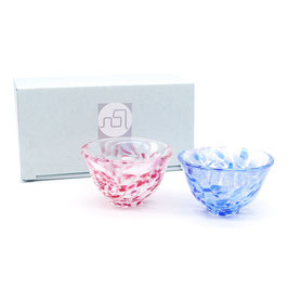 *GLASS SAKE CUP PAIR: SAKURA & WATER