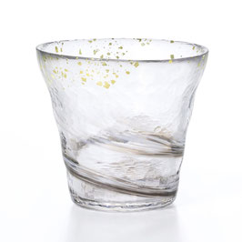 *HANDMADE GLASS TUMBLER with GOLD LEAVES: MIST