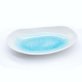 *SHALLOW LONG OVAL BOWL: WHITE WATER FLOW