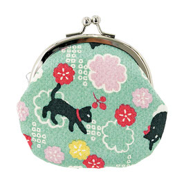 GAMAGUCHI COIN PURSE: CAT and FLOWERS