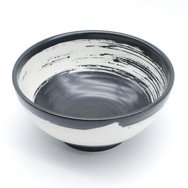*BOWL: BLACK w THICK WHITE BRUSH