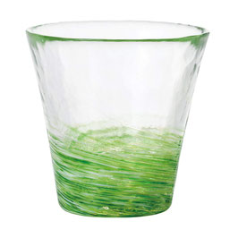 *HANDMADE GLASS CUP:SPRING GREEN