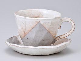 *CUP & SAUCER: HAGI GRAY w PINKISH WHITE