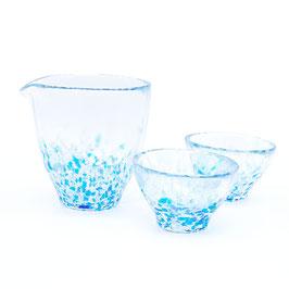 *GLASS SAKEWARE: HYDRANGEA