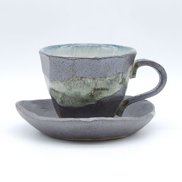 *CUP & SAUCER: BLACK SILVER CLOUD
